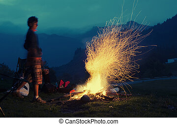 Bonfire in the mountains