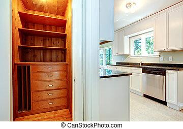 Wooden closet in kitchen room