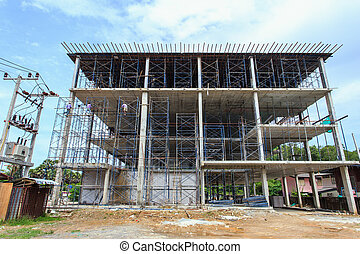 Scaffolding in construction site