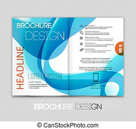 Abstract template brochure design  with blue wave