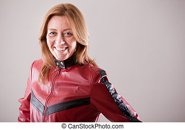 hard rock woman in red leather jacket - hard rock motorbiker...