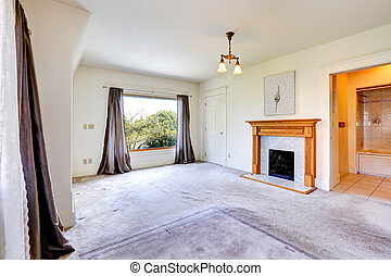 Emtpy master bedroom interior with fireplace