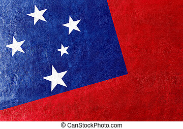 Samoa Flag painted on leather texture