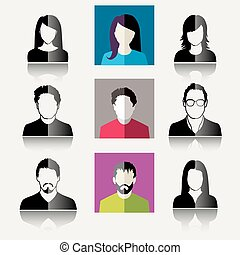 User Icons and People Icons in flat modern style Vector...