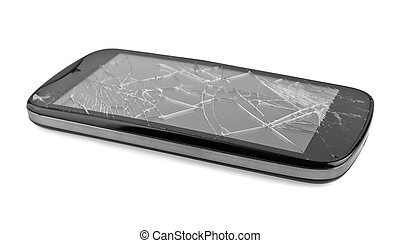 mobile smartphone with broken screen isolated on white...