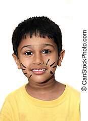 Whiskers - An handsome Indian kid happy with whiskers on...