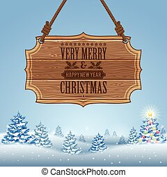 Christmas background with Wooden Sign and Fir Tree Vector...
