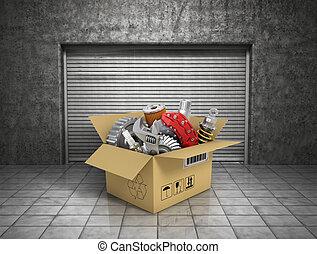 Auto parts with cardbox in garage. Automotive basket shop....