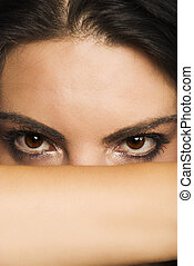 Beautiful woman eyes - Portrait of beautiful woman who cover...