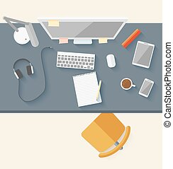 Concept of modern business workspace in flat design. Vector...