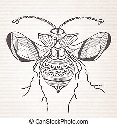 Vector decorative insect butterfly - Vector abstract cartoon...