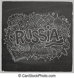 Russia Vector hand lettering and doodles elements chalkboard...