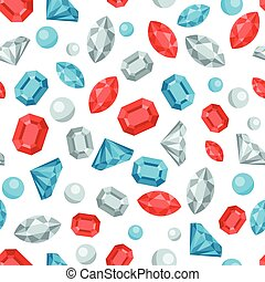 Seamless pattern with beautiful jewelry precious stones.