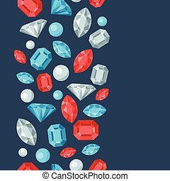 Seamless pattern with beautiful jewelry precious stones