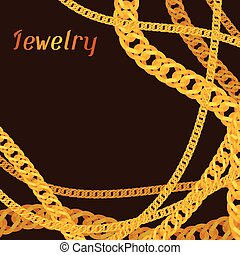 Background design with beautiful jewelry gold chains