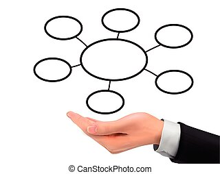 business diagram holding by realistic hand over white...