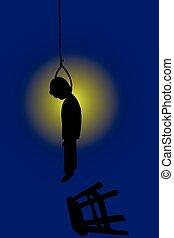 Doodle silhouette suicide man