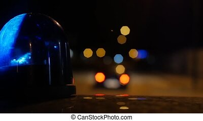 close-up of flashing light on a pol - police lights flashing...