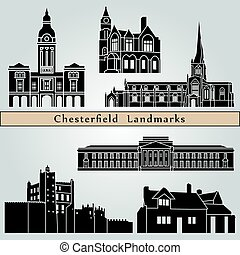 Chesterfield landmarks and monuments isolated on blue...