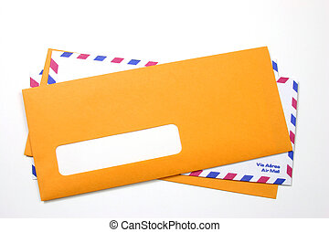 Blank address space - Stacked envelopes with the upper one...