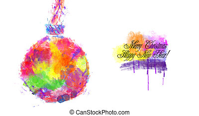 Watercolor Christmas Bauble - An abstract illustration on...