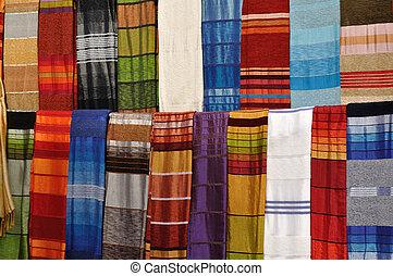 Colorful fabrics for sale in Essaouria, Morocco