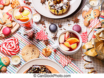 christmas sweets - colorful Christmas sweets and hot drinks...