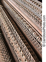 Wood carved at Hanuman Dhoka - Details of wooden entrance...