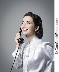 Confident vintage secretary on the phone - Attractive...