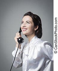 confiante, vindima, secretária, ligado, a, telefone,