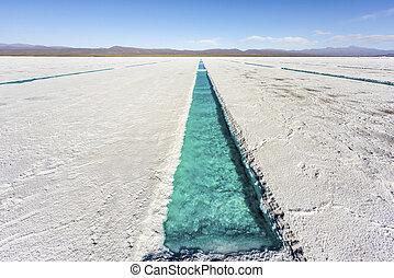 Water pool on Salinas Grandes Jujuy, Argentina. - Salt water...