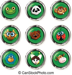 Cartoon animal icons - Illustration, nine buttons with...
