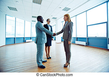 Companionship - Successful business partners handshaking in...