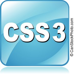 css3 icon - illustration of blue square icon for css3