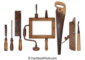 collage, trabajo, madera, herramientas, carpintero, y,...