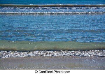 Wave pattern on Mediterranean beach Mallorca, Balearic...