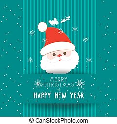 christmas and happy new year with santa claus card