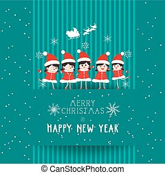 christmas and happy new year with kids card