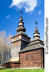 wood church - Ukrainian historical country wood church on...