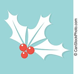 Holly berry - White Christmas symbol holly berry. Vector...