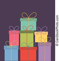Christmas presents - Stack of colorful Christmas presents