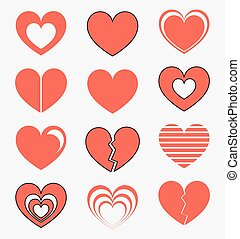 Hearts collection - Collection of red hearts Vector...