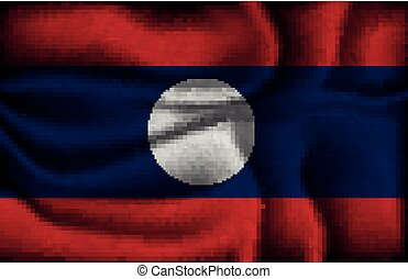 crumpled flag of Laos on a light background