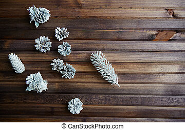 Frosty pinecones - Winter still life of silver pinecones