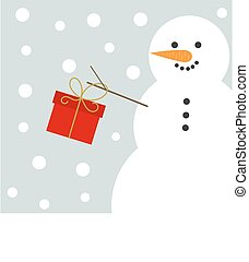 Christmas snowman with present