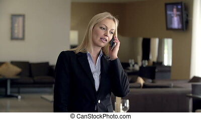 Conversation with Business Partner - Business woman talking...