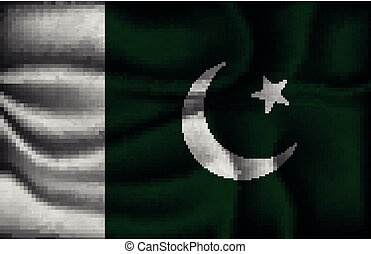 crumpled flag of Pakistan on a light background.