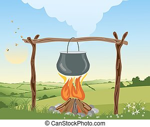camp fire - an illustration of a camp fire with pot on a...