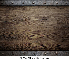 old wood background with metal frame - wood background with...