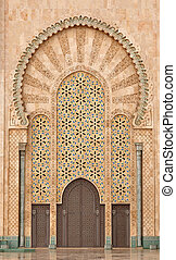Detail of Hassan II Mosque in Casablanca Morocco